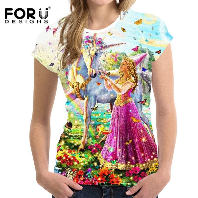 FORUDESIGNS Mode Einhorn T Shirts Frauen Tops, lustige T-Shirt Femme - Damenbekleidung - Foto 2