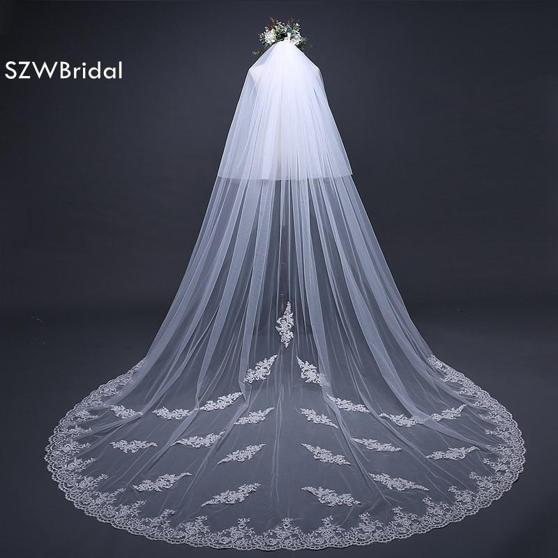 Casamento White Wedding Veil Long Lace Edge Bridal Veil With Comb Wedding Accessories Bride Mantilla Wedding Veil 2019