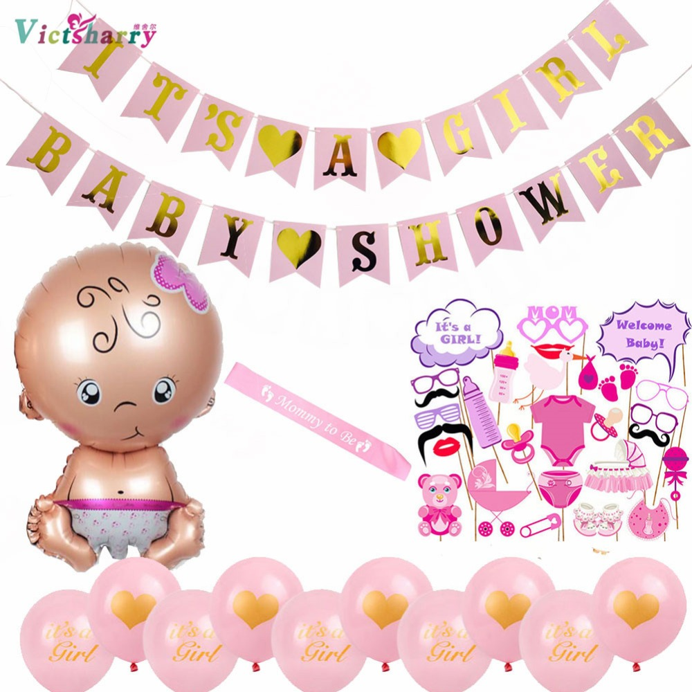 Birthday Party Decoration Kit Baby Shower Banner Photo Booth Props Newborn Latex Balloons Its A Girl Boy Party Party Diy Decorations Aliexpress