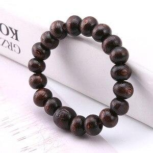 Image 3 - Minimaliste rond bois perles bouddha Bracelet marron lettre prière Braclet pour hommes Cool artisanat bijoux pulseira masculina
