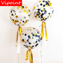 VIPOINT PARTY 5pcs 18inch gold black paper scraps latex ballon wedding event christmas halloween festival birthday party HY-343