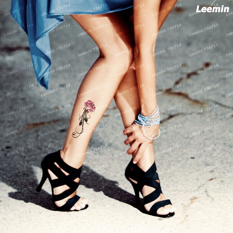 Temporary Tattoo Pink Lotus Flower Ankle Arm Boy Art Sticker Women