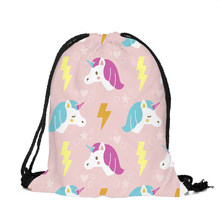ZHBSLWT 3D Printed Thinking of the unicorn Unicorn Drawstring Bags New Fashion Women Backpack Female Cute for School Backpack-40(China)