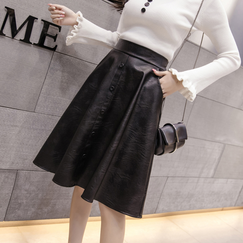 90cb33ac40b11 AOSSVIAO 2018 New Spring Women Skirt Fashion PU Leather Skirt High Waist  Pleated Swing Vintage Maxi Skirt Saias Plus Size-in Skirts from Women's ...