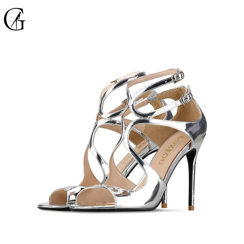 GOXEOU/George 2019 ใหม่ bright pointed fine hollow รองเท้าส้นสูง professional รองเท้าผู้หญิงรองเท้าแตะ size32 46-ใน รองเท้าส้นสูง จาก รองเท้า บน   2