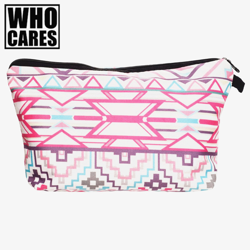 Aztek bialo rozowy Printing cosmetic bag organizer toiletry bag 2017 Fashion New makeup bags pouch necessaire makyaj cantasi недорого