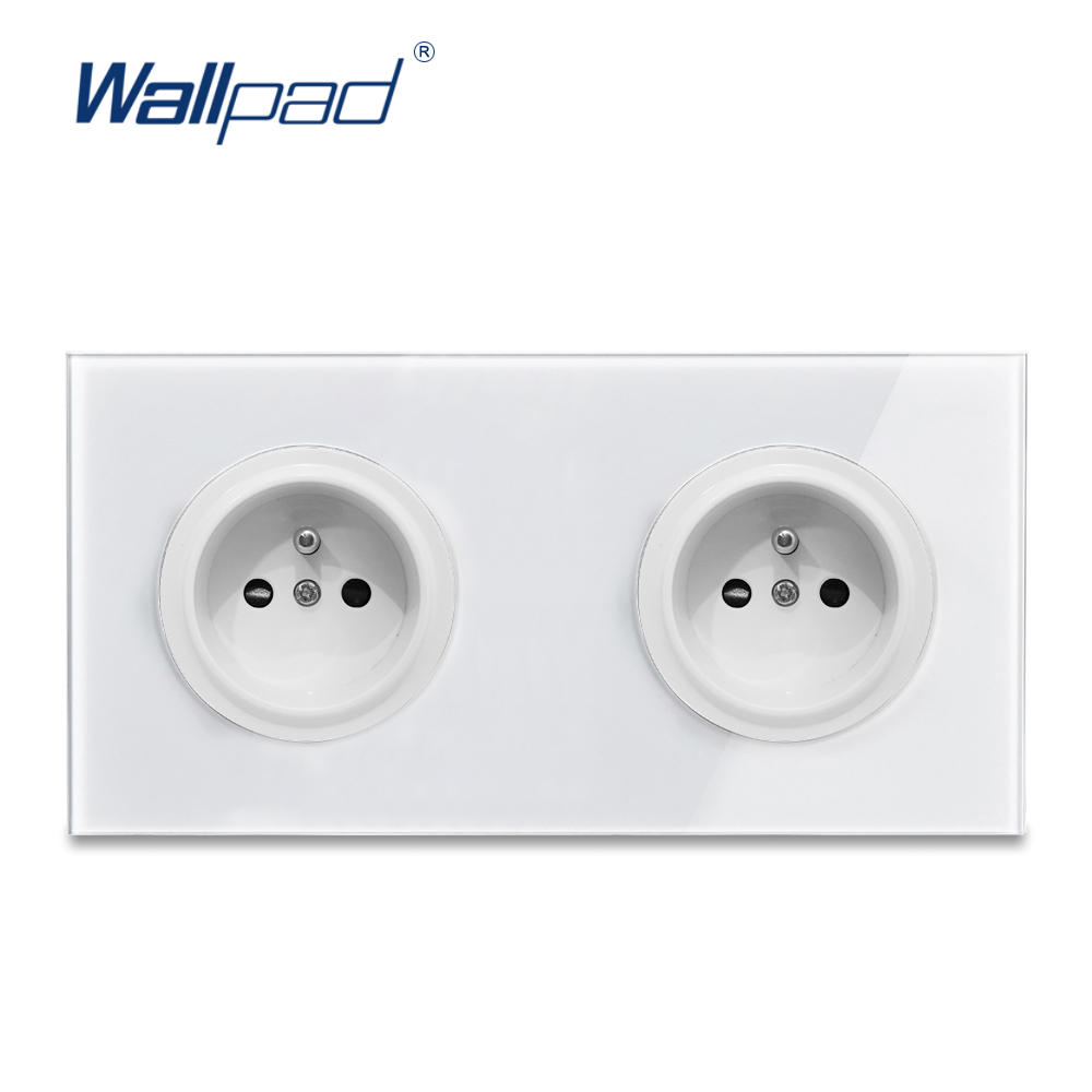 Wallpad L6 Double 2 Gang EU French Plug Wall Socket France Dual Twin Power Outlet White Tempered Glass Panel 172*86mm