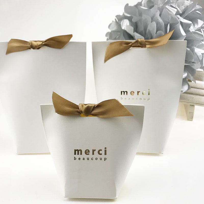 "French Wedding Gifts: 10pcs Upscale Black White Bronzing ""Merci"" Candy Bag"