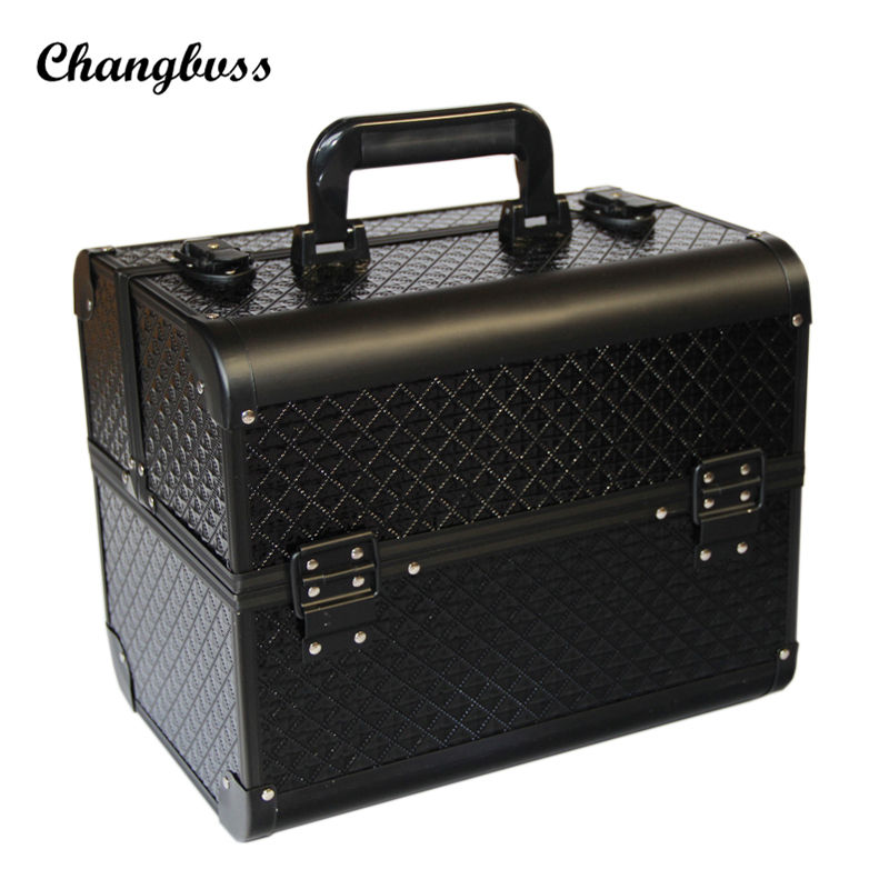Luxury Black Diamond Pattern Women Cosmetic Bag Portable Multi Layers Makeup Organizer Suitcase Travel Cosmetics Storage Box travel aluminum blue dji mavic pro storage bag case box suitcase for drone battery remote controller accessories