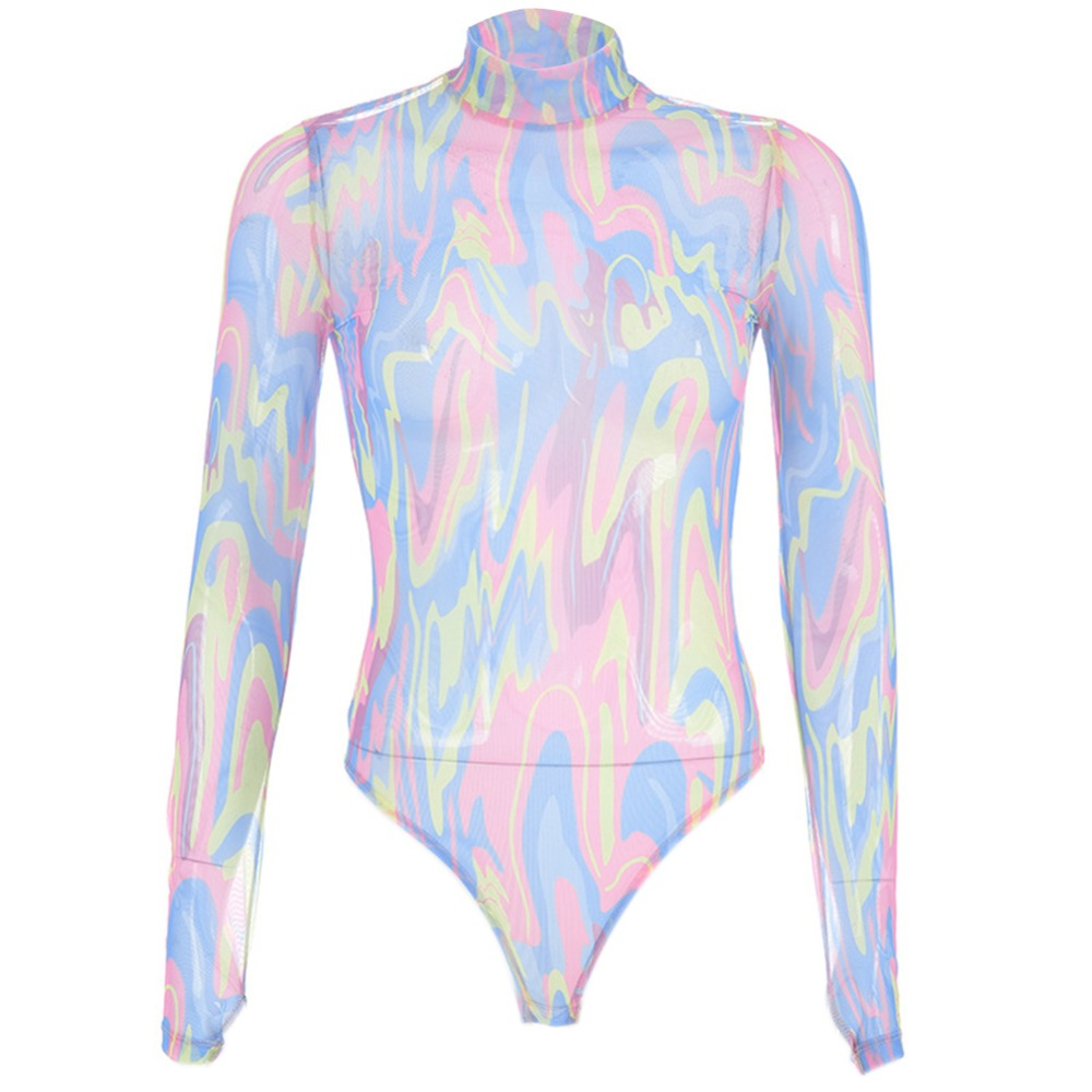 Colorful Mesh Long Sleeve High Neck Skinny Bodysuits Romper   Jumpsuit   Tops Sexy Bodycon Skinny Body Suit for Women