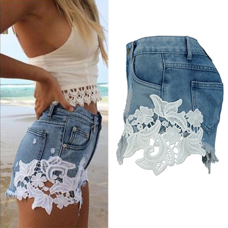 Aliexpress.com : Buy Summer Female Floral Print Lace Frayed Denim ...