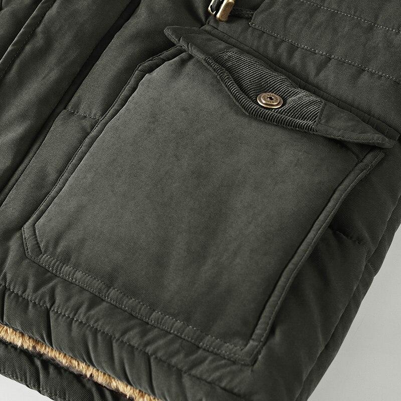 Homme hiver veste grande taille 6XL 7XL 8XL épais chaud Parka polaire fourrure à capuche militaire veste poches coupe-vent veste hommes - 5