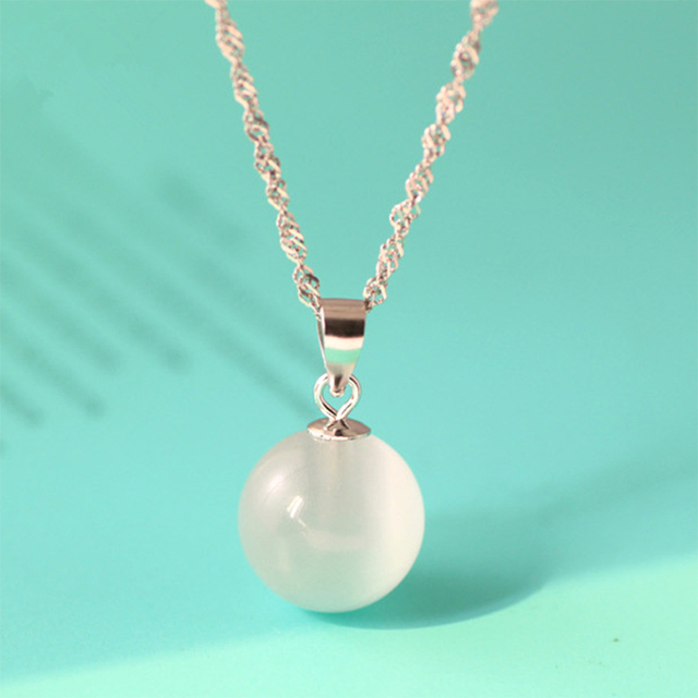 Cat's Eye Pendant 925 Sterling Silver Round Natural Stone Pendant For Women Korean Charm Necklace Fashion Jewelry 4