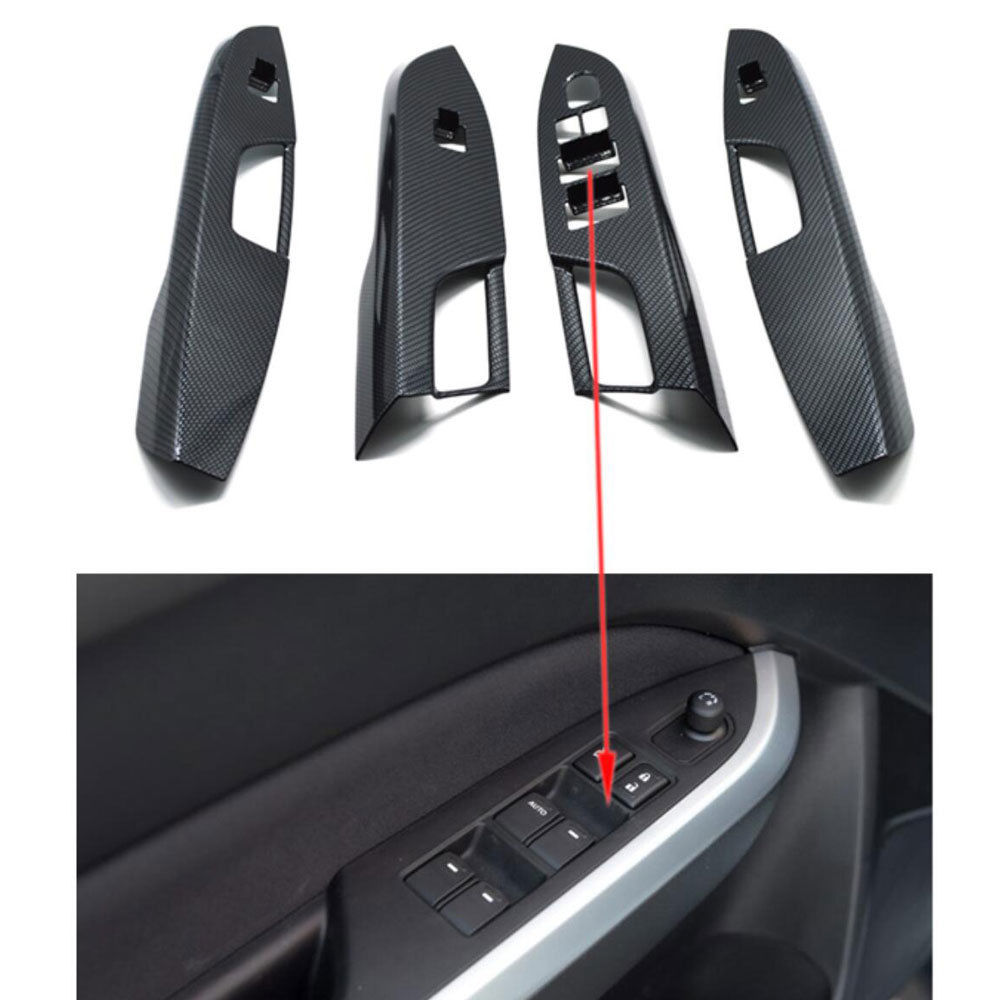 Car Interior Door Armrest Window Switch Button Panel Cover Trim Styling Sticker 4x Fit For Suzuki Vitara 2016 interior door window glass lifter switch armrest cover car styling stickers for ford explore 2015 abs chrome car accessories