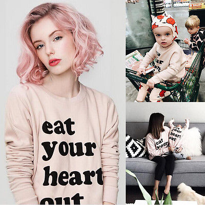 Fashion Womens Mom Kids Baby Mother and daughter Sweatshirt Cotton Long Sleeve Letter Pullover Tops Girls Jumper Blouse