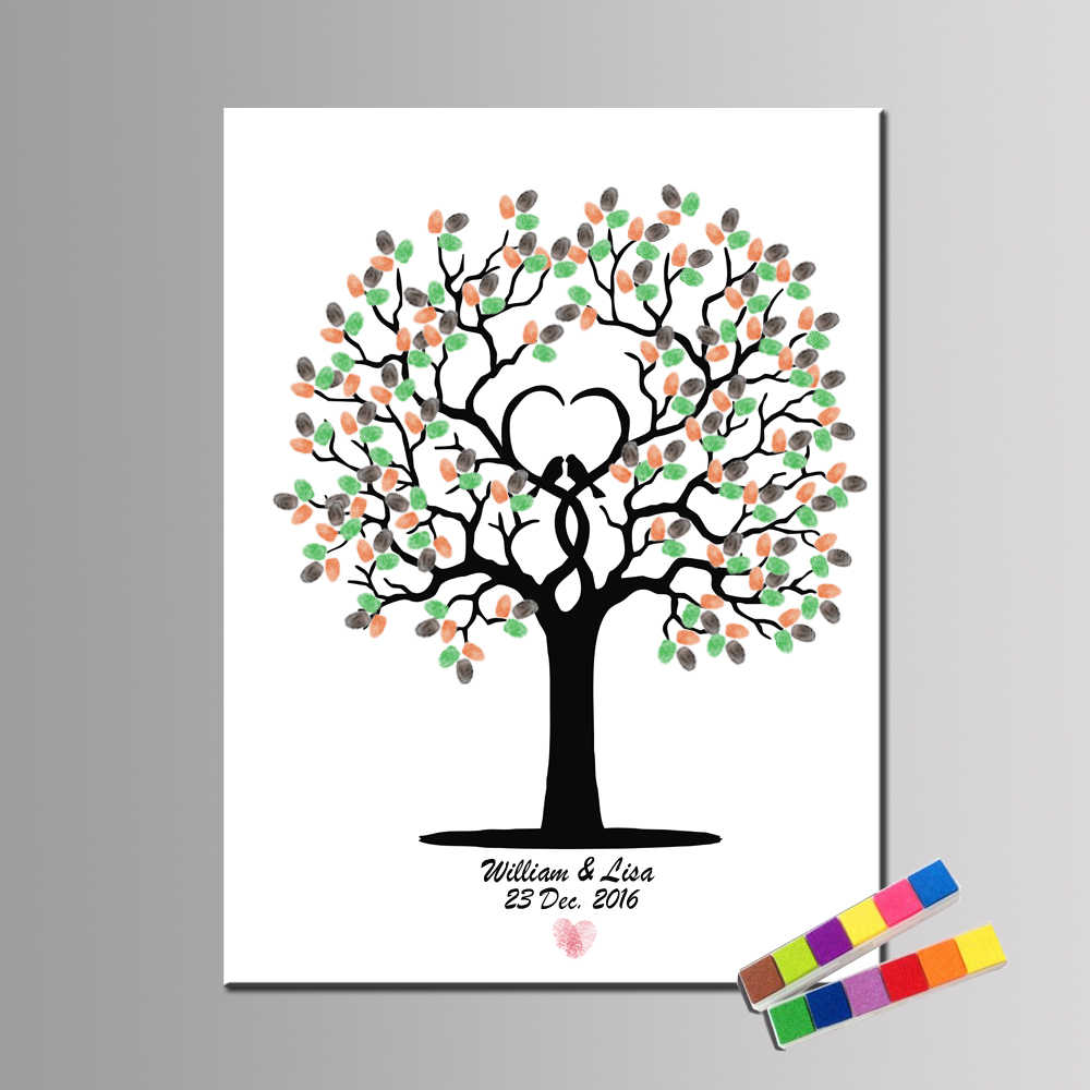 HAOCHU Fingerprint Sign Wedding Decoration Tree And Bird LOVE Custom Names and date Wedding Guestbook Birthday Baptism Poster