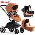Cochecito europeo Pouch 3 en 1, cochecito de bebé plegable con suspensión, asiento de coche de bebé,  moisés cesto de bebé, panorama alto