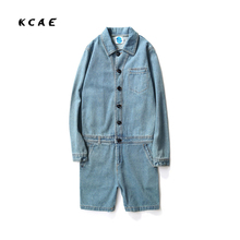 2017 Summer Men Jumpsuit Casual Long Sleeve Fashion Hip Hop Overalls One Piece Clothing Set Bib Pants Coverall Singer Costumes