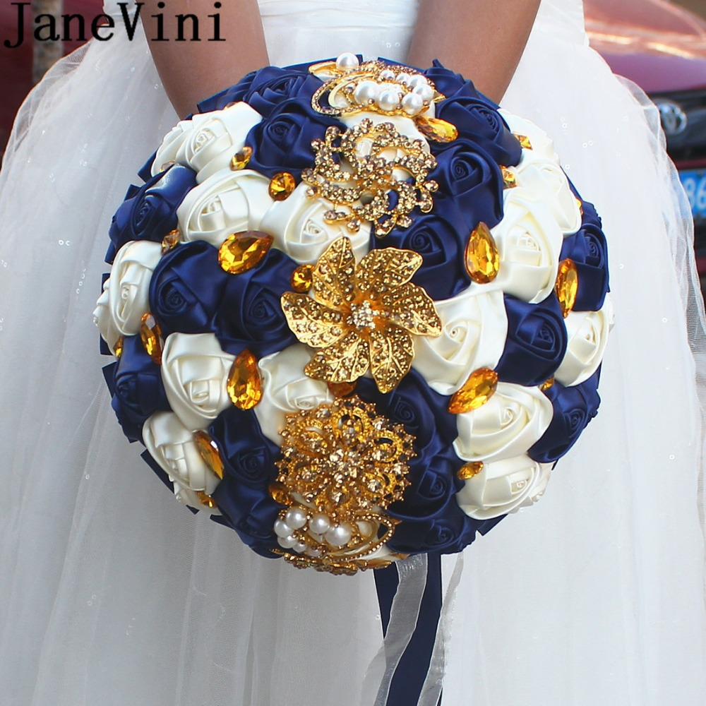 JaneVini Luxury Satin Rose Flowers Bouquet Brides Navy Blue Wedding Bouquet With Gold Crystal Diamond Artificial Bridal Bouquet-in Wedding Bouquets from Weddings & Events    1