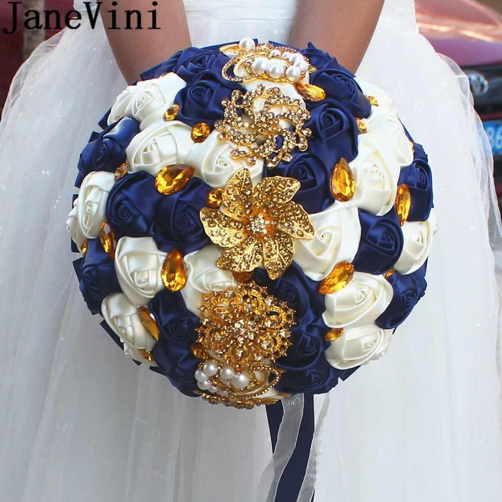 Janevini luxo cetim rosa flores bouquet noivas azul marinho casamento buquê com ouro cristal diamante artificial bouquet de noiva