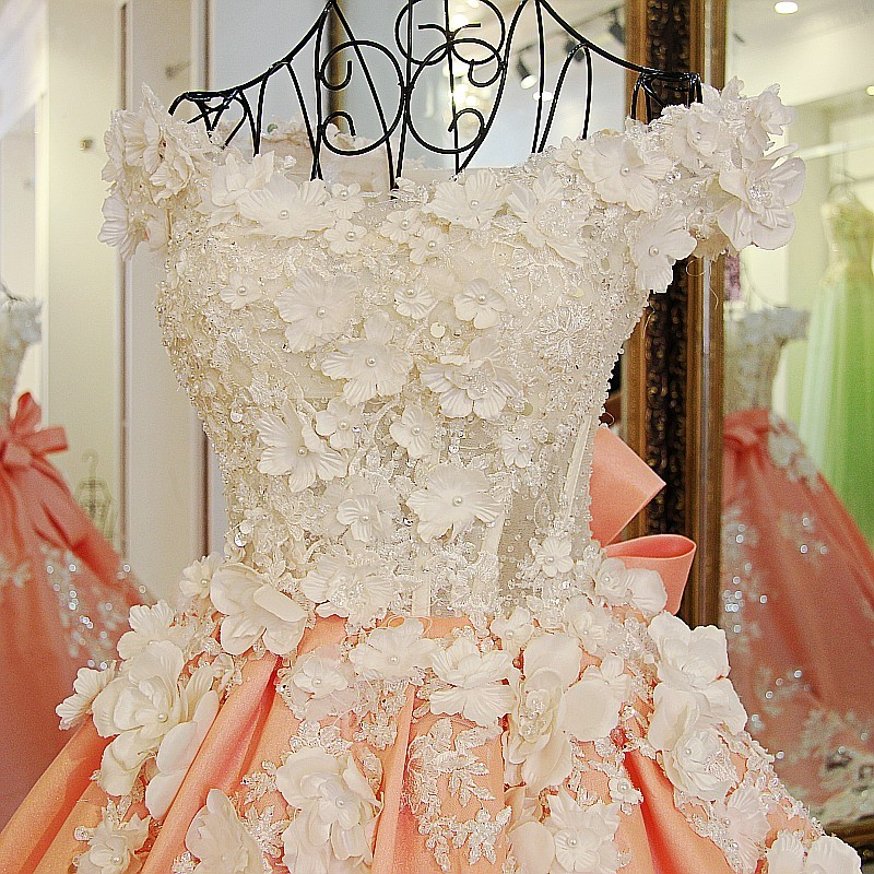 Real photos pearls beaded handmade flowers 50cm train orange satin ball wedding gown with big removable bow ribbons back - 3