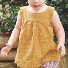 Летняя жилетка для девочки одежда для маленьких девочек модные, детские дети без рукавов, из хлопка и льна Однотонная футболка Майки футболки