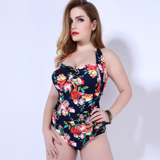 a44f6995f8947 Plus Size Swimwear Sexy One Piece Swimsuit Floral Print Summer High Waist  Large Cup Swimsuit Halter Maillot De Bain 2019