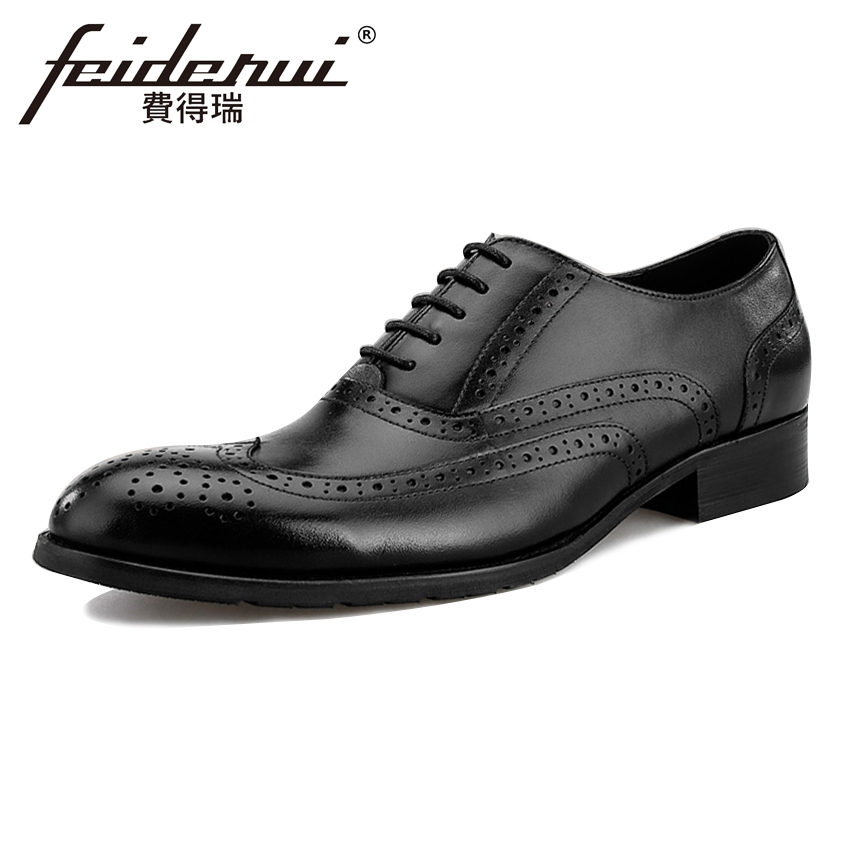 Vintage Genuine Leather Men's Oxfords Formal Dress Round Toe Lace-up Man Wedding Flats British Designer Male Brogue Shoes BQL94 us6 10 men s pointy toe pu leather shoes lace up brogue wing tips formal dress wedding shoes casual oxfords