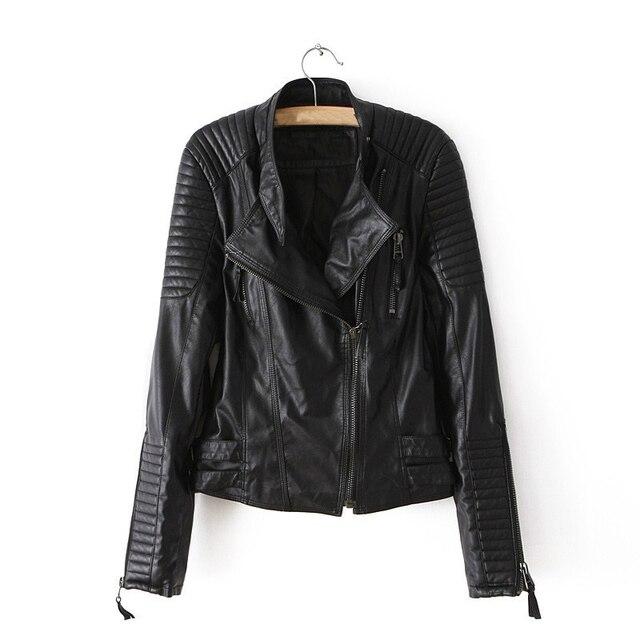 Искусственного мягкой кожи женщин короткие куртки PU черный сплошной цвет молния летать с длинным рукавом с отложным воротником женский мотоцикл тонкий слой