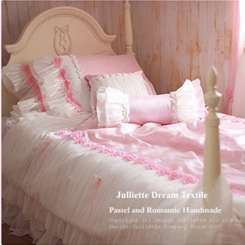 Top American Luxury Bedding Set Ruffle Bow Romantic