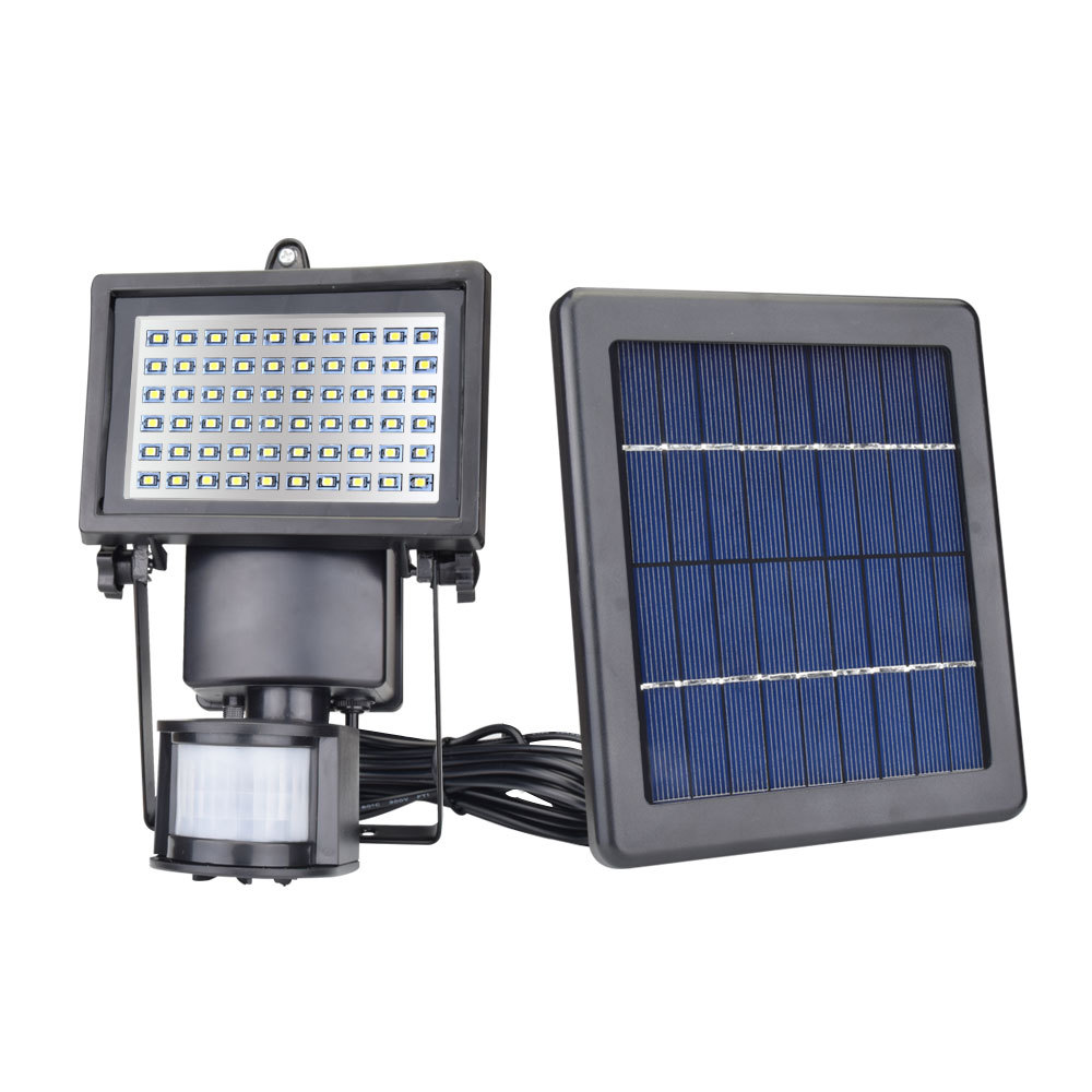 2000mah Mono Solar Panel with LED Flood Security Garden Light PIR Motion Sensor 60 LEDs Path Wall Lamps Outdoor Emergency Lamp