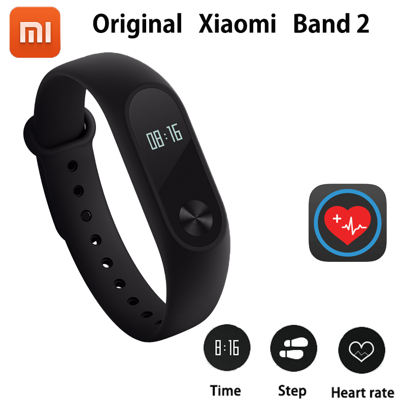 100% Original Xiaomi Mi Band 2 Smart Wristband Bracelet Band2 IP67 OLED Screen Touchpad Pulse Heart Rate Step Time Date