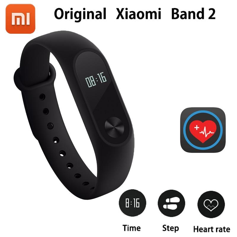 100% original Xiao mi banda 2 Smart wristband pulsera band2 IP67 oled pantalla touchpad pulso ritmo cardíaco paso tiempo fecha