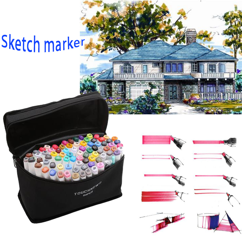 W110143/Artist Manga Graphic Alcohol Based Markers /30/40/60/80 Colors Drawing Marker Pen Animation Sketch Markers Set/ touchfive 30 40 60 80 colors drawing marker pen animation sketch art markers set for artist manga graphic based markers brush