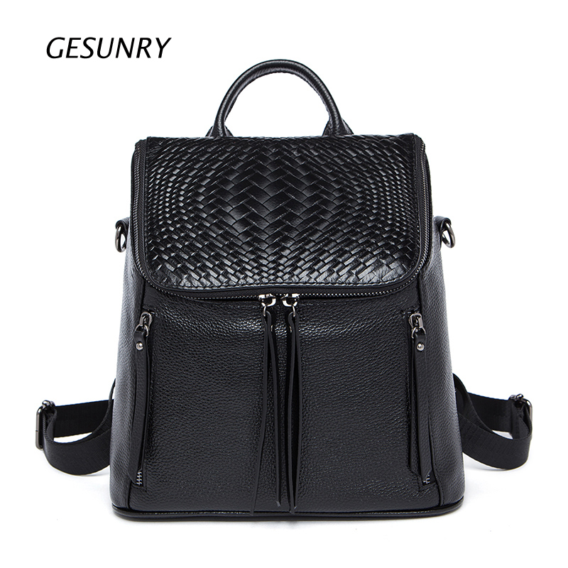 New 100 Real Soft Genuine Leather Women Backpack Woman Korean Style Ladies Strap Laptop Bag Daily