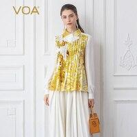 VOA тяжелый шелк блузка Для женщин желтый с принтом женские топы Осень с длинным рукавом Элегантная офисная рубашка сладкий оборками Kawaii B795