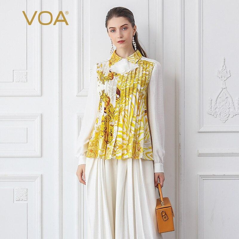 VOA Heavy Silk Blouse Women Yellow Printed Ladies Tops Fall Long Sleeve Elegant Office Work Shirt Sweet Ruffles Kawaii B795