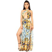 New Arrival high quality digital print elegant Dress Womens Boho Sleeveless  Maxi Dress sexy cross Party dresses s-xl 7037396f7255
