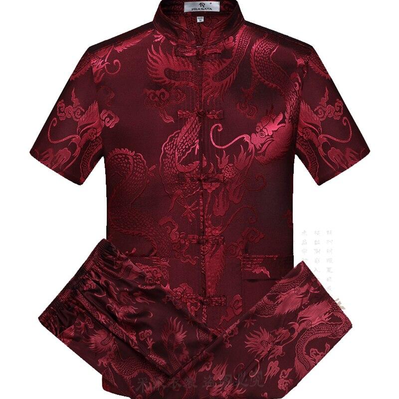 Oriental_element Chinese Style Men's Short Sleeve Dragon Kung Fu Suits Sets Shirt+Pants S M L XL XXL 3XL 0626