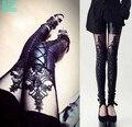 2017 Estilo Fresco Diseño de Moda Cordón de Las Polainas Flacas Pantalones de Estiramiento de Las Mujeres de Encaje Triangular PU Polainas de Cuero
