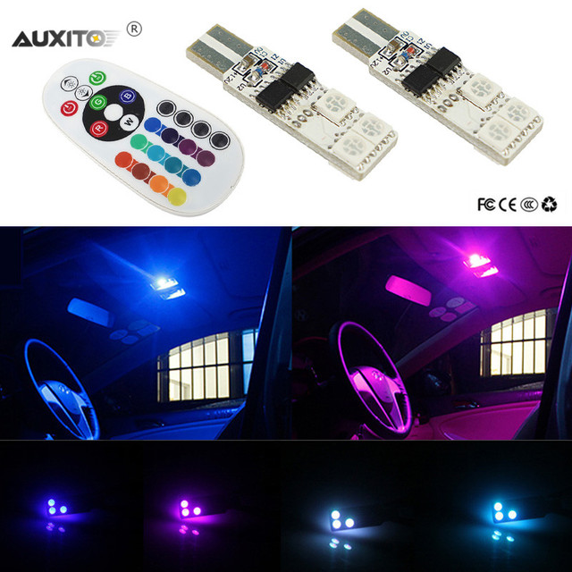 2x For Ford Ranger 1983 2017 Rgb T10 W5w 194 168 Car Led Interior Dome Reading Light Bulbs 16 Color 12v
