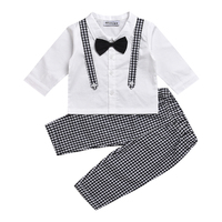 Fashion Baby Boy Clothing Set Long Sleeve Fake Two Pieces Bowknot Shirt Long Pants Newborn Infant