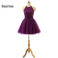 New 2016 Appliques Beaded Purple Homecoming Dresses Organza Halter Mini Modest Cute Short Party Gowns Vestidos