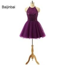 Baijinbai Nuevos Apliques Con Cuentas Púrpura Vestidos de Fiesta de Organza Cabestro Mini Modest Lindo Corto Vestidos Del Partido Vestidos de festa