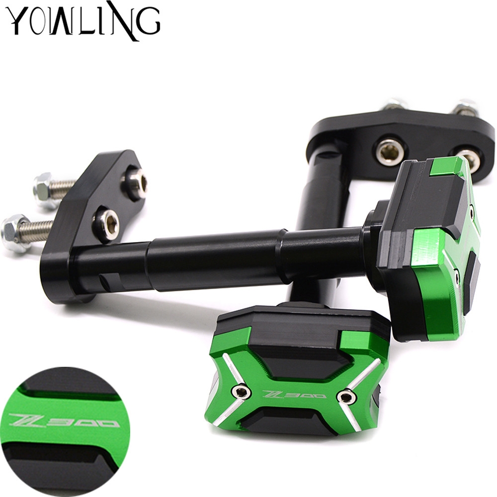 With Z300 logo Motorcycle Frame Crash Pads Engine Case Sliders Protector Frame Slider For KAWASAKI Z300 2013 2014 2015 2016 motorcycle cnc aluminum frame sliders crash pads protector suitable for kawasaki z800 2012 2013 2014 2015 2016 green