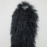 New 2 Meters 6 Layer Black Natural Ostrich Feathers Boa Quality Fluffy Costumes / Trim for Party / Costume / Shawl / Available