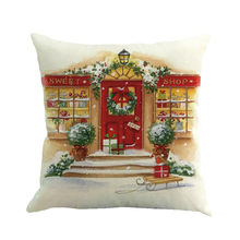 Christmas Printing Dyeing Pillow Cover European and American style Flax Sofa Waist Throw Cushion Cover Home Decoration(China)