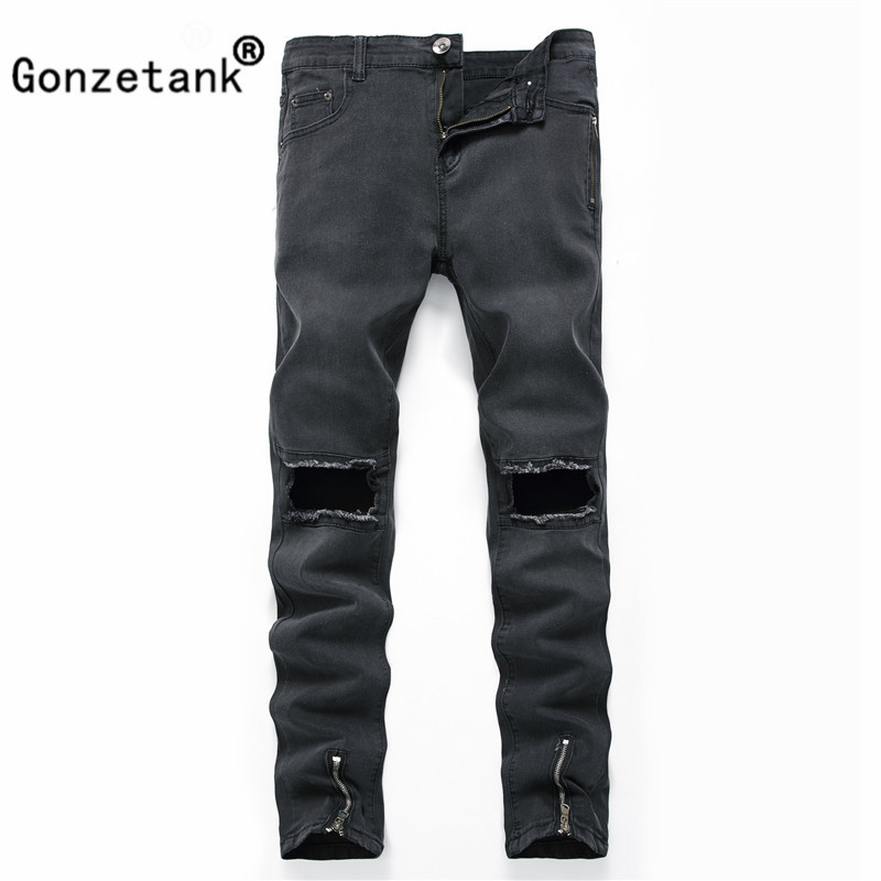 Gonzetank 2017 Zipper Broken Black Jeans Pants for Men Classical and Straight Boyfriend Narrow for Middle Waisted Size 27~40
