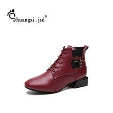 Shuangxi. jsd Mulheres Ankle Boots 2018 Luxury Design Preto Anti-slip Botas Curtas Plus Size de Alta Qualidade Mulher Sapato Bota feminina
