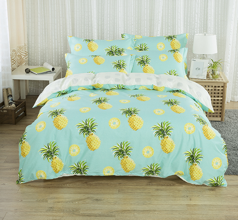 100 cotton pineapple cute bedding set 4pcs king queen size bed sheet set duvet cover